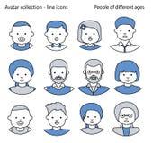 Uppsättning av symbolsfolkavatars för profilsidan, socialt nätverk, socialt massmedia Linje symboler Arkivbild