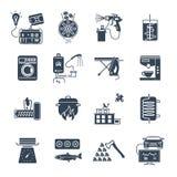 Uppsättning av symbolshushållanordningar, elektrisk utrustning Fotografering för Bildbyråer