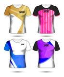 Uppsättning av t-skjorta för fotboll- eller fotbollärmlös tröjamall stil, design vektor illustrationer