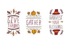 Uppsättning av tacksägelsebeståndsdelar och text på vit bakgrund vektor illustrationer