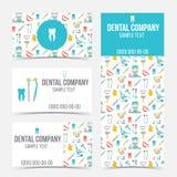 Uppsättning av tand- affärskort Arkivbilder