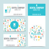 Uppsättning av tand- affärskort Fotografering för Bildbyråer