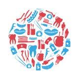 Uppsättning av tand- röda och blåa symboler för tema i cirkel Arkivbild