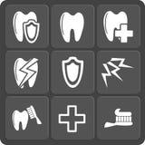 Uppsättning av tand- rengöringsduk 9 och mobila symboler. Vektor. Royaltyfri Foto