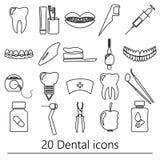 Uppsättning av tand- symboler eps10 för temasvartöversikt Royaltyfri Bild