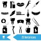 Uppsättning av tand- temasvartsymboler Royaltyfria Foton