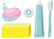 Uppsättning av tandkräm, tandtråd, tandborste, Toohtpaste, tvål Arkivfoto
