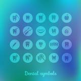 Uppsättning av tandläkekonstsymboler Royaltyfri Bild