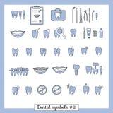 Uppsättning av tandläkekonstsymboler, del 2 Fotografering för Bildbyråer