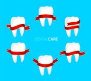 Uppsättning av tandsymbolet med det röda bandet Arkivbild