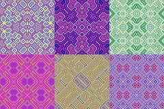 Uppsättning av tapetkubikblom- sömlösa frambragda texturer Royaltyfri Fotografi