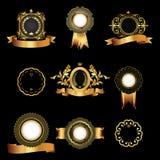 Uppsättning av tappning guld-inramade etiketter Royaltyfri Bild
