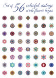 Uppsättning av tappning Mandala Logos Royaltyfria Bilder