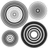 Uppsättning av tappningbakgrunder, dekorativ cirkel för Guilloche Arkivfoton