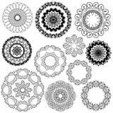 Uppsättning av tappningbakgrunder, dekorativa cirkelbeståndsdelar för Guilloche Royaltyfria Foton