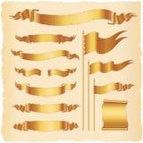 Uppsättning av tappningbanerflaggor och krullade band Vektorillustra Vektor Illustrationer