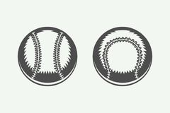 Uppsättning av tappningbaseballbollar stock illustrationer