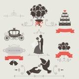 Uppsättning av tappningbeståndsdelar för att gifta sig inbjudan Fotografering för Bildbyråer
