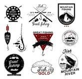 Uppsättning av tappningfiskelogo, etiketter, emblem och planlagda beståndsdelar Arkivfoto