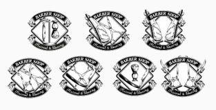 Uppsättning av tappningfrisersalongemblem royaltyfri illustrationer