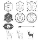 Uppsättning av tappninghjortsymboler, emblem och etiketter Royaltyfria Foton
