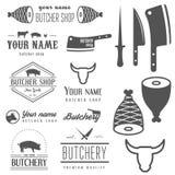 Uppsättning av tappninglogo- och logotypbeståndsdelar för royaltyfri illustrationer