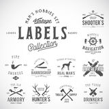 Uppsättning av tappningsymboler, etiketter eller Logo Templates With Retro Typography för mäns hobbyer liksom seglingen, jakt, ar royaltyfri illustrationer