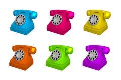 Uppsättning av tappningtelefonen i olika färger Telefon som isoleras på vit bakgrund, illustration för vektor 3d royaltyfri illustrationer