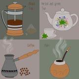 Uppsättning av te och kaffe, gräsplan och örtte, svart te, kompis, kaffe Arkivfoton