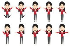 Uppsättning av tecken för affärskvinna i rörelse Fotografering för Bildbyråer