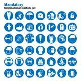 Uppsättning av tecken för säkerhet och för vård- skydd Obligatoriskt konstruktions- och branschtecken Samling av säkerhetsutrustn Royaltyfri Bild