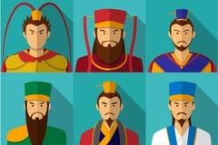 Uppsättning av teckenståenden för tre kungarike i lägenhet vektor illustrationer