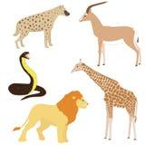 Uppsättning 2 av tecknad filmafrikandjur Arkivfoton