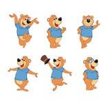 Uppsättning av tecknad filmbjörnen med olika stilar stock illustrationer