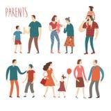 Uppsättning av tecknad filmföräldrar och barn Royaltyfri Foto