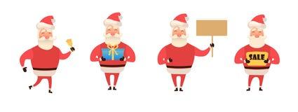 Uppsättning av tecknad filmjulillustrationer som isoleras på vit Roligt lyckligt Santa Claus tecken med gåvan, påse med gåvor stock illustrationer