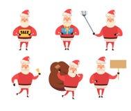 Uppsättning av tecknad filmjulillustrationer som isoleras på vit Roligt lyckligt Santa Claus tecken med gåvan, påse med gåvor vektor illustrationer