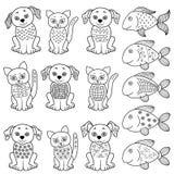 Uppsättning av tecknad filmkatter, hundkapplöpning och fiskar stock illustrationer