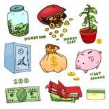Uppsättning av tecknad filmpengar Stock Illustrationer