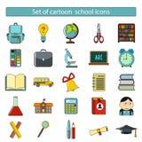 Uppsättning av tecknad filmskolasymboler Arkivfoto