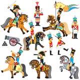 Uppsättning av tecknad filmsoldater royaltyfri illustrationer