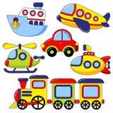 Uppsättning av tecknad filmtransportsymbolen Bil ubåt, skepp, nivå, drev, helikopter Royaltyfria Bilder