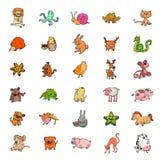 Uppsättning av tecknad filmvektordjur Arkivbild