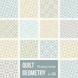 Uppsättning av 12 tegelplattor med geometriska modeller royaltyfri illustrationer