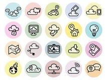 Uppsättning av teknologisymboler för rengöringsduk och mobil Arkivfoton