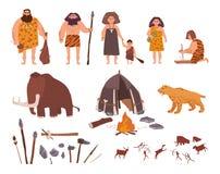 Uppsättning av temat för stenålder Primitivt folk, barn, kolossalt, bo, jaga och arbets- hjälpmedel, sabel-tandad tiger royaltyfri illustrationer