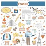 Uppsättning av tematiska beståndsdelar av Frankrike Arkivfoto