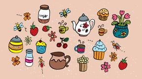 Uppsättning av tetillbehör, disk och sötsaker Stock Illustrationer