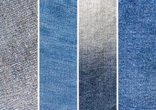 Uppsättning av textur för fyra blå grov bomullstvilljeans Royaltyfri Fotografi