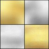 Uppsättning av texturbakgrund för silver och för guld- folie Arkivfoton